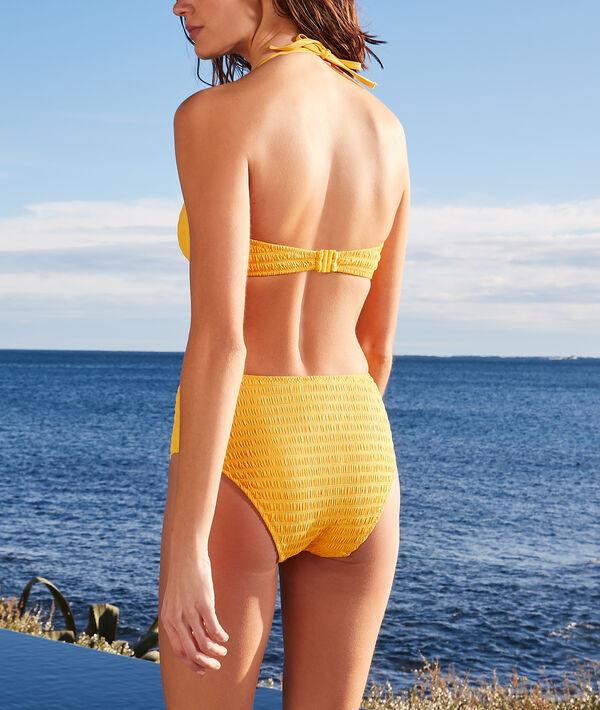 Culotte taille haute smockée à boucle maillot de bain;${refinementColor}