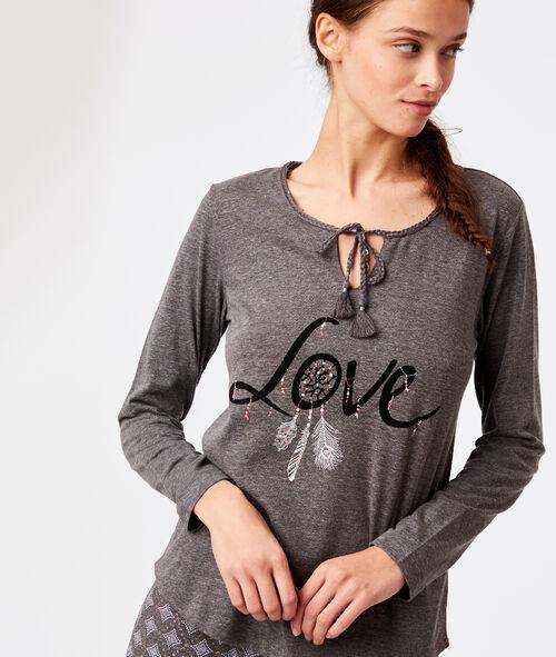 """T-shirt col noué """"Love"""""""