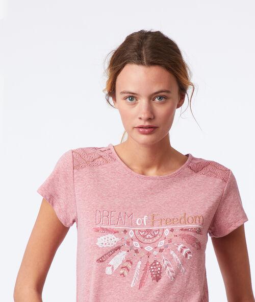 """T-shirt """"Dream of freedom"""" dos dentelle"""