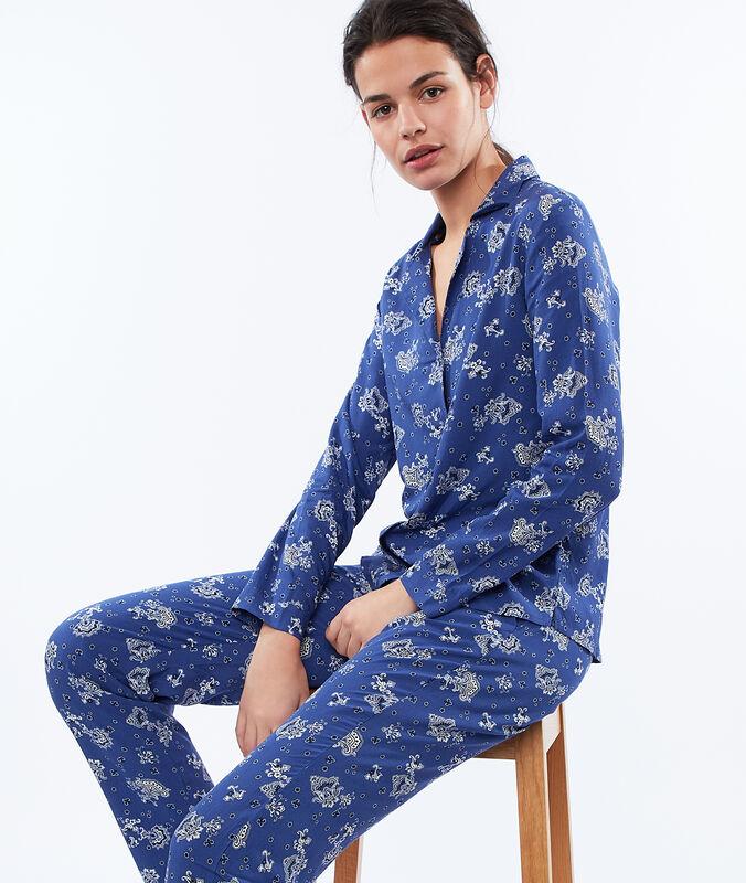 Pantalon imprimé cachemire bleu.
