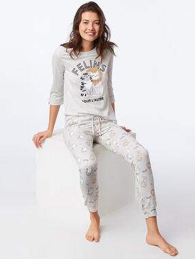"""T-shirt manches longues """"félins pour l'autre"""" gris clair."""