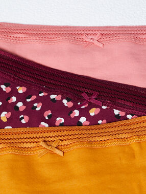Pack de 3 shortys, bords dentelle rose/bordeaux/ocre.