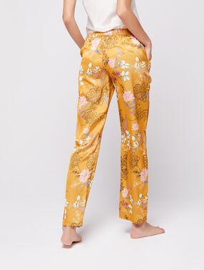 Pantalon satin imprimé jaune.