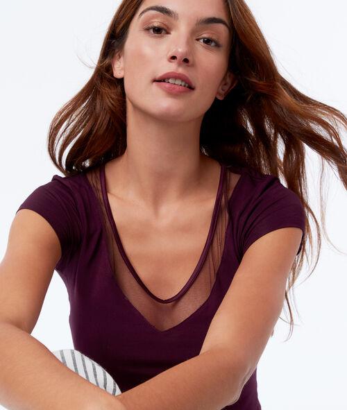T-shirt décolleté dentelle