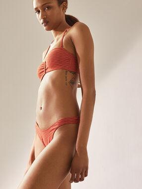 Bas de bikini high leg, texturé brique roux.