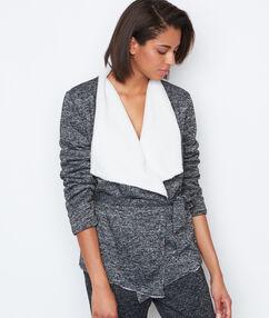 Veste homewear fourrée gris.