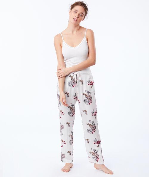 Pantalon large noué à imprimé floral