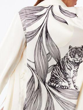 Déshabillé satiné dos imprimé grand tigre ecru.