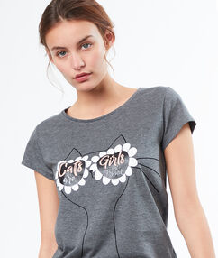 T-shirt imprimé lunettes gris.