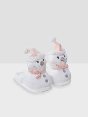 Mules 3d bonhomme de neige ecru.
