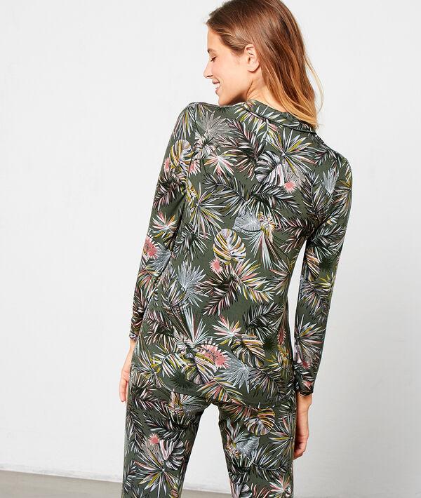 Chemise de pyjama imprimé feuillage