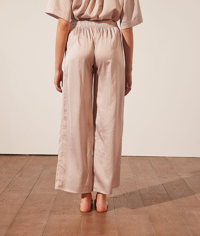 Pantalon de pyjama satiné imprimé;${refinementColor}
