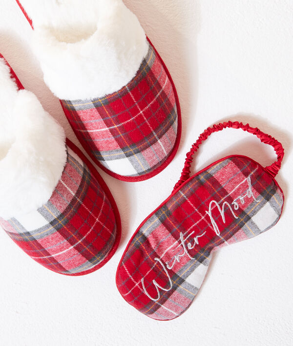 """Set chaussons mules fourrés et masque """"Winter mood"""";${refinementColor}"""