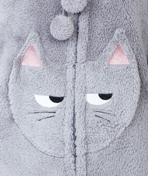 Déshabillé long doudou, détail poches oreilles 3D et pompons