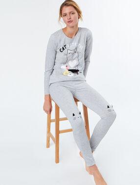 T-shirt chat à message gris.
