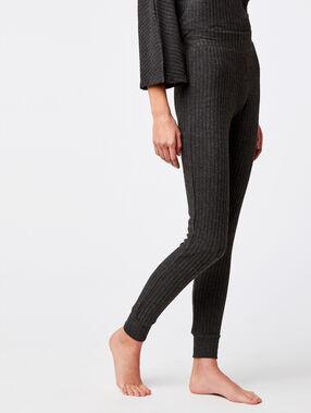Pantalon homewear côtelé anthracite.