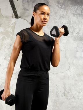 T-shirt de training, bi-matière noir.