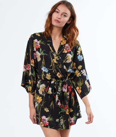 Déshabillé kimono fleuri noir.