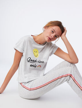 """T-shirt """"good vibes only"""" gris clair."""