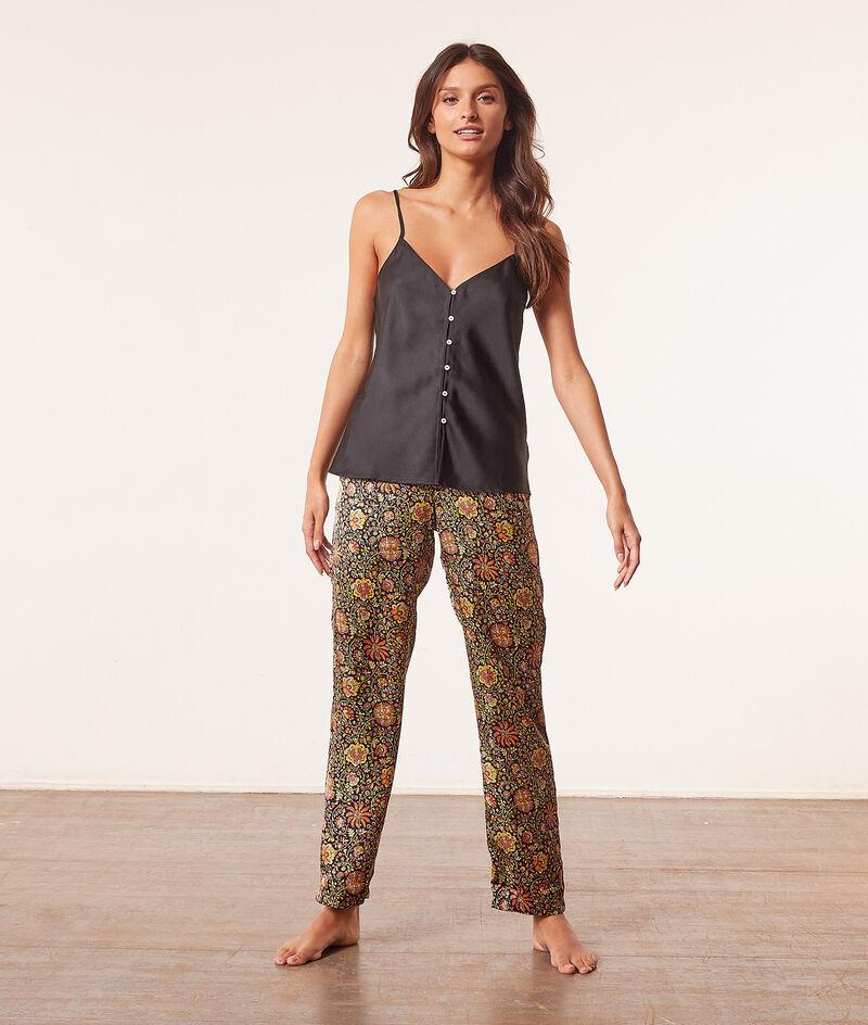 Pantalon de pyjama taille haute satiné;${refinementColor}
