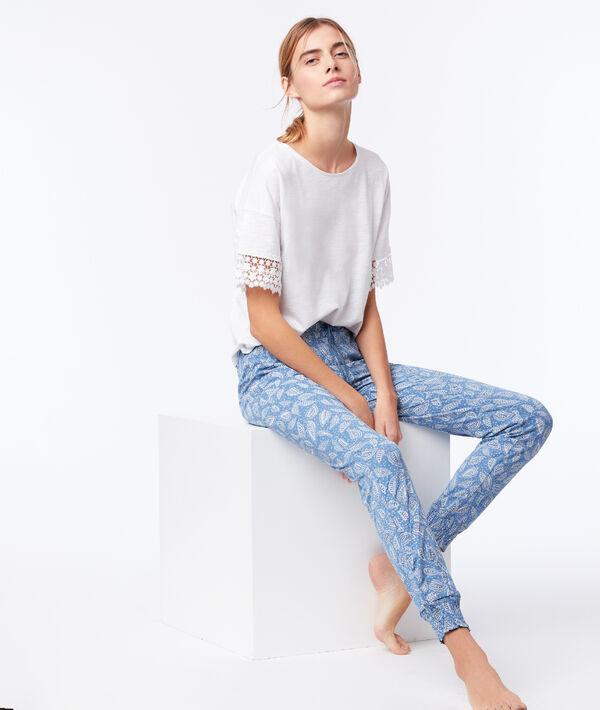 Pantalon noué imprimé floral;${refinementColor}