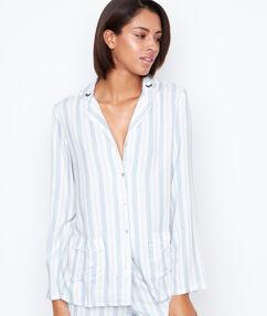 Pyjama d'homme rayé blanc.