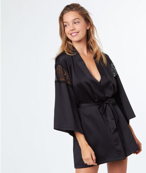 Déshabillé kimono satin dentelle