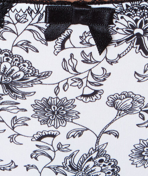 Culotte micro imprimé floral, dos dentelle