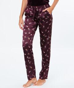 Pantalon satin imprimé fleuri aubergine.