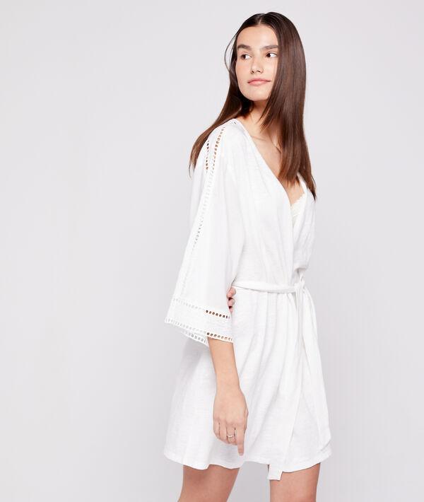 Kimono déshabillé en coton brodé