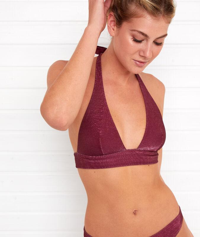 Haut de maillot de bain triangle irisé prune.