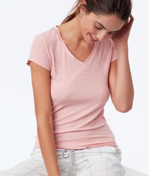 T-shirt cotelé décolleté satin