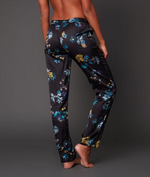 Pantalon satin imprimé floral