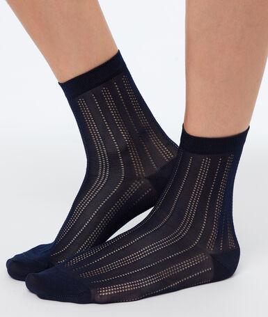 Chaussettes courtes viscose marine.