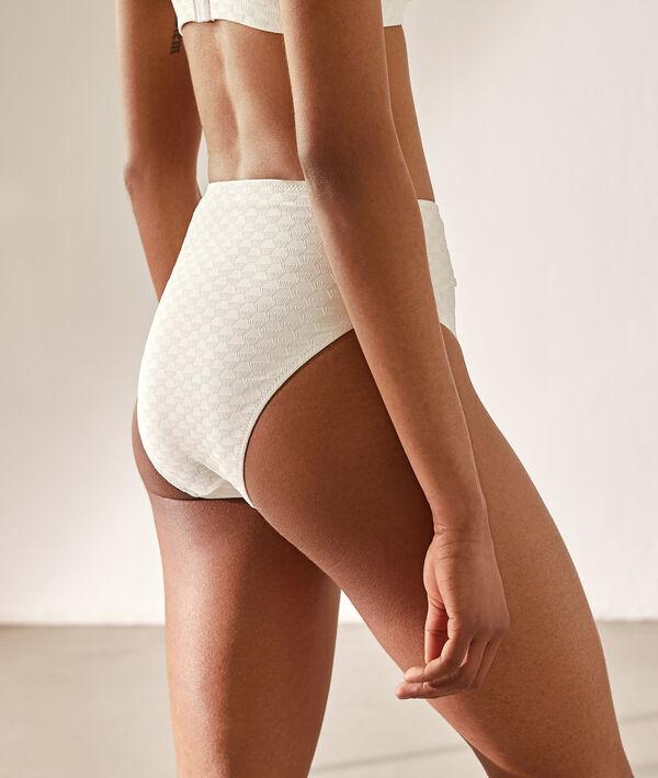 Bas de bikini taille haute, texturé