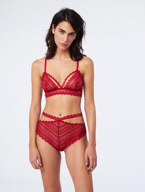 Culotte taille haute en dentelle façon liens rouge.
