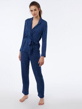 Pantalon à motif étoilé bleu.