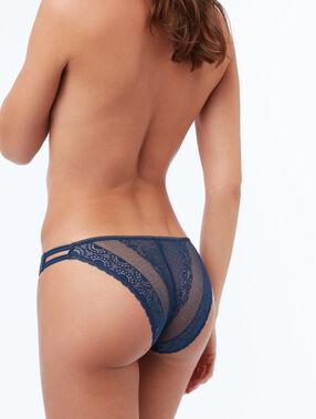 Culotte dentelle à bandes élastiques bleu.