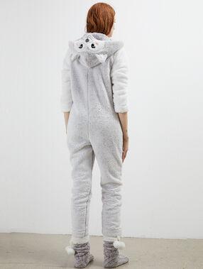 Combinaison pyjama loup gris clair.