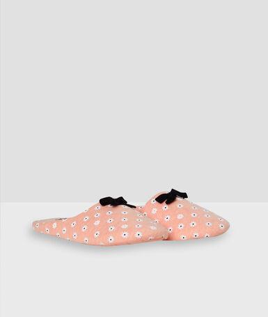 Chaussons molleton imprimé fleurs rose.