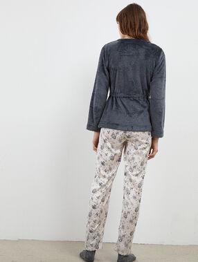 Pyjama 3 pièces satiné veste polaire gris.