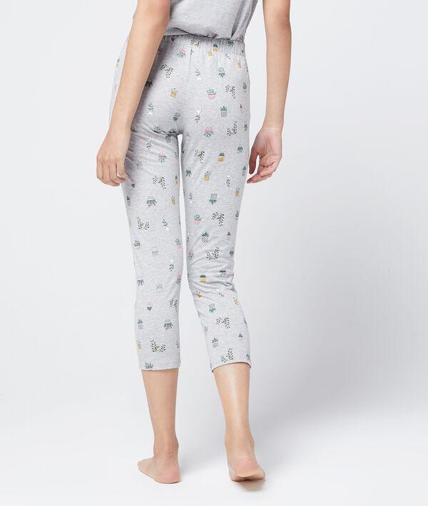 Pantalon capri imprimé fleurs en coton bio