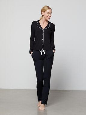 Pantalon fluide bicolore noir.