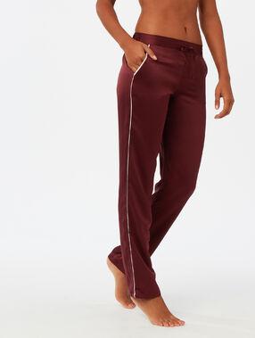Pantalon bande contrastée bordeaux.