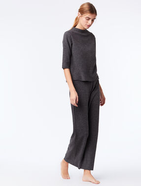 T-shirt homewear manches 3/4 gris.