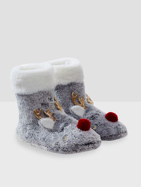 Chaussons bottines animaux gris.
