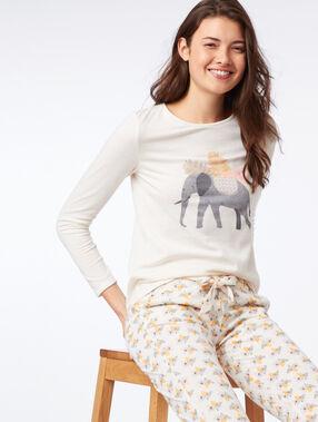 T-shirt manches longues éléphant ecru.