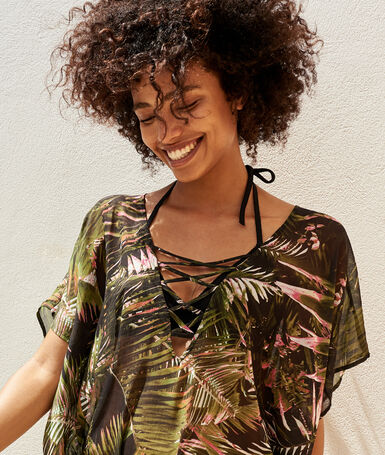 Tunique motif tropical noir.