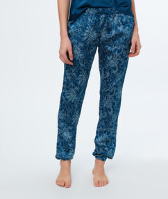 Pantalon satin imprimé cachemire bleu.