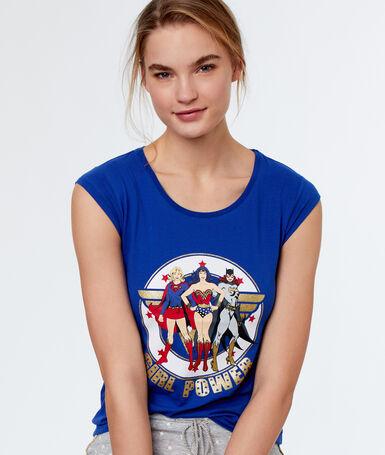 T-shirt girl power bleu.